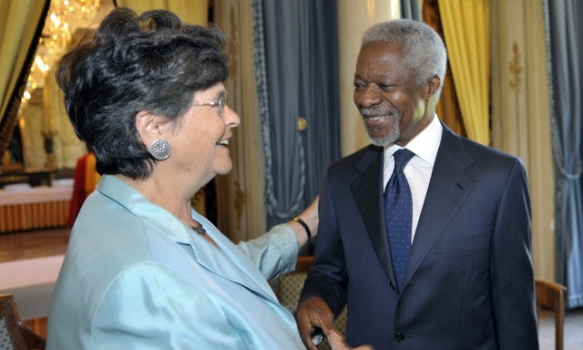 H.E Mrs Ruth Dreifuss with the late Kofi Annan. Photo: Global Commission on Drug Policy.