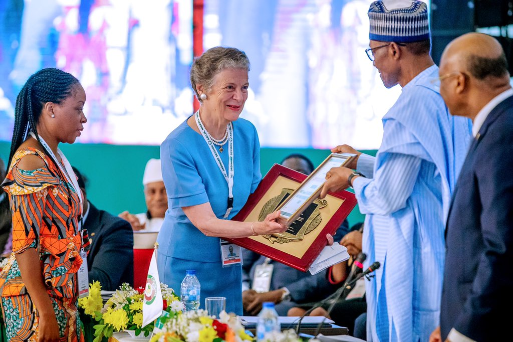 Mrs Nane Annan, left with President Buhari in Abuja